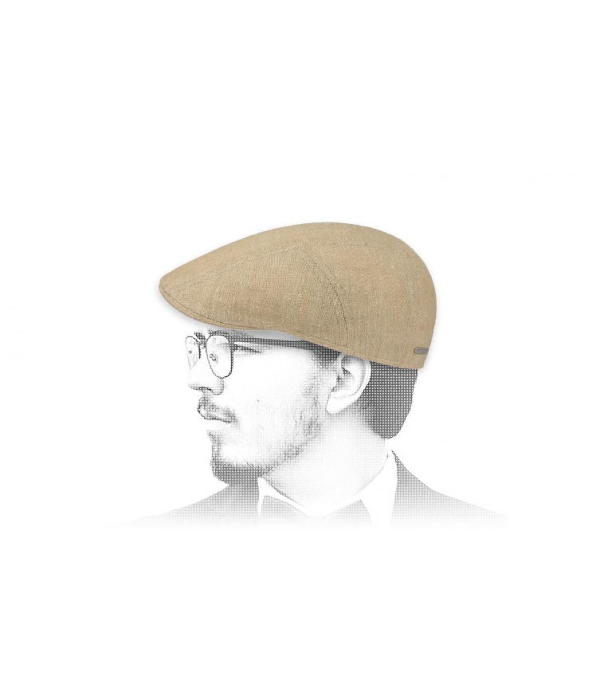 beige zijden linnen baret