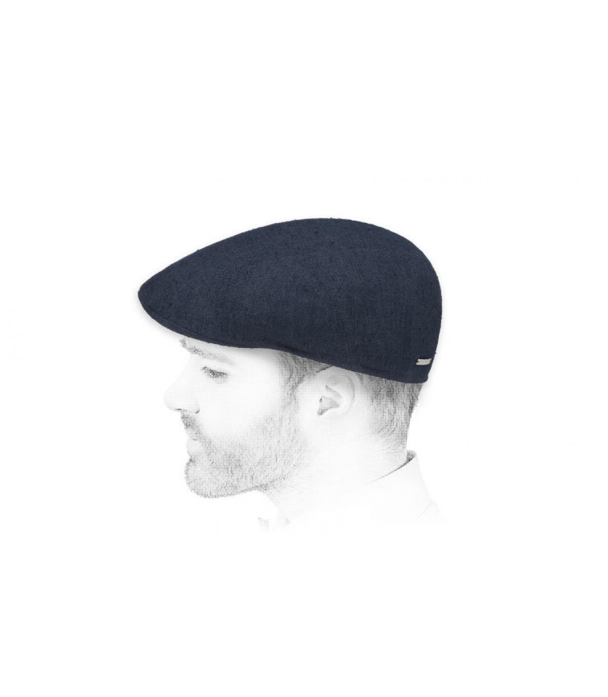 zijden linnen marine baret
