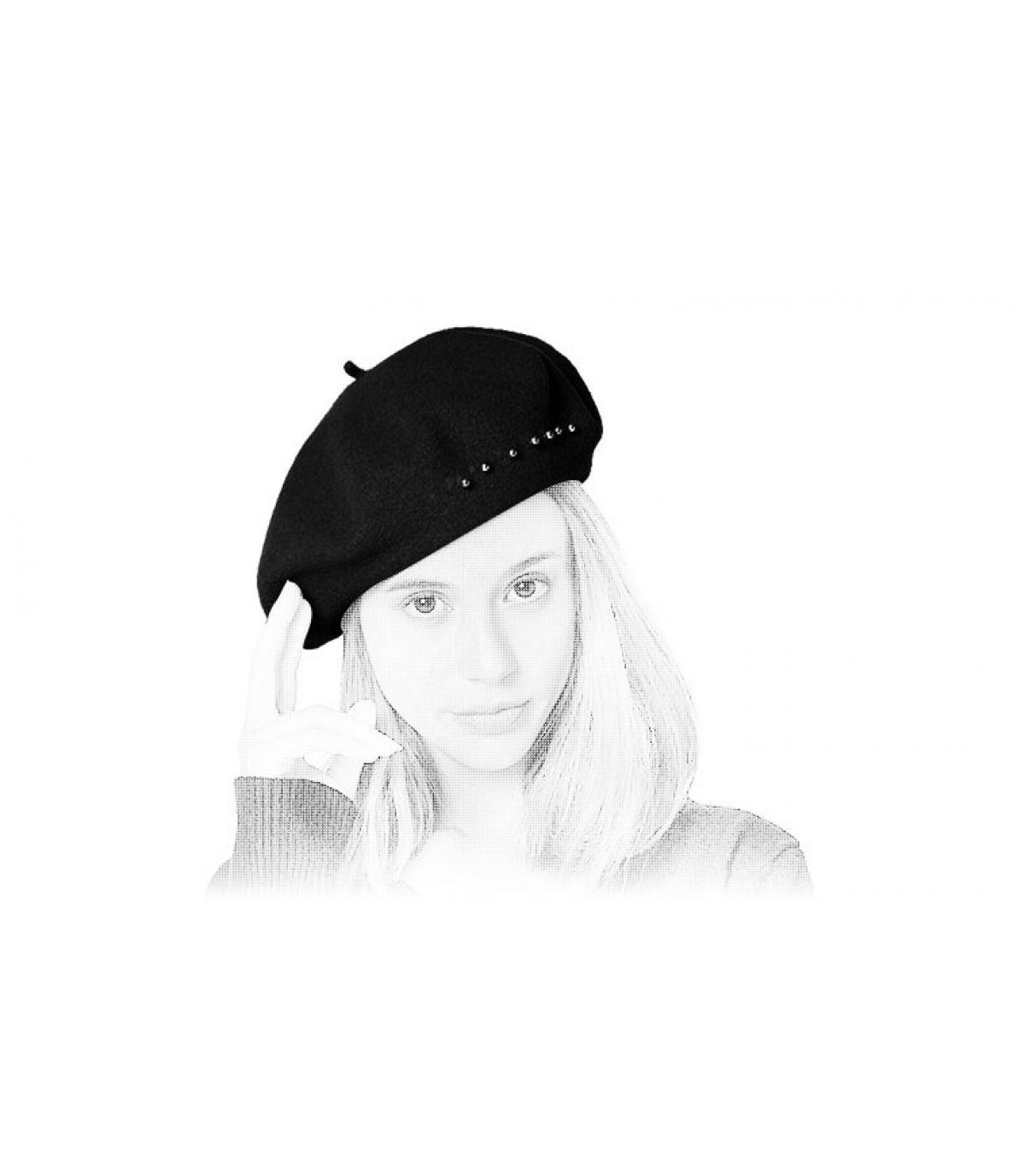 zwarte baret baret