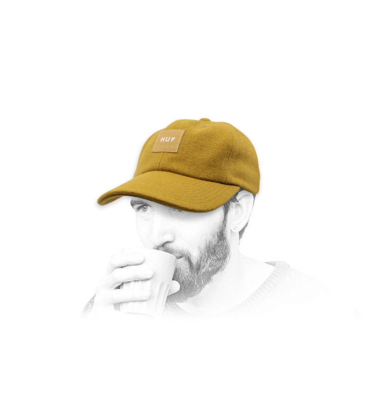 Wollen muts Melton Huf geel