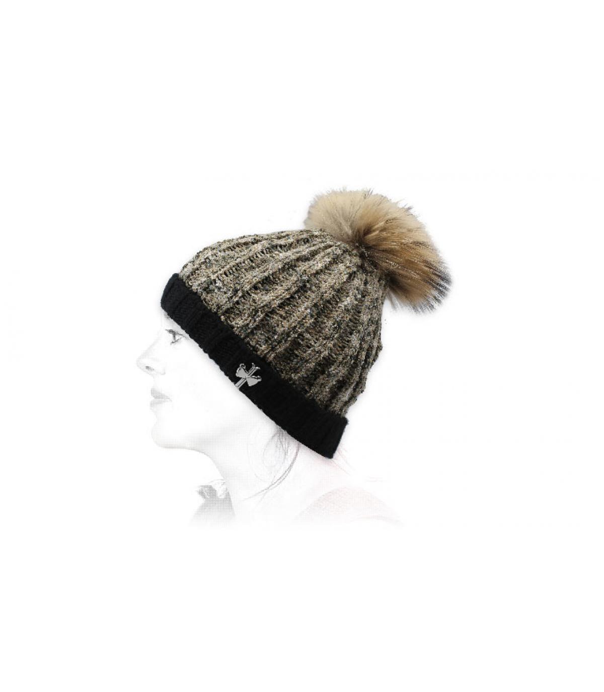 zwarte beige wollen hoed