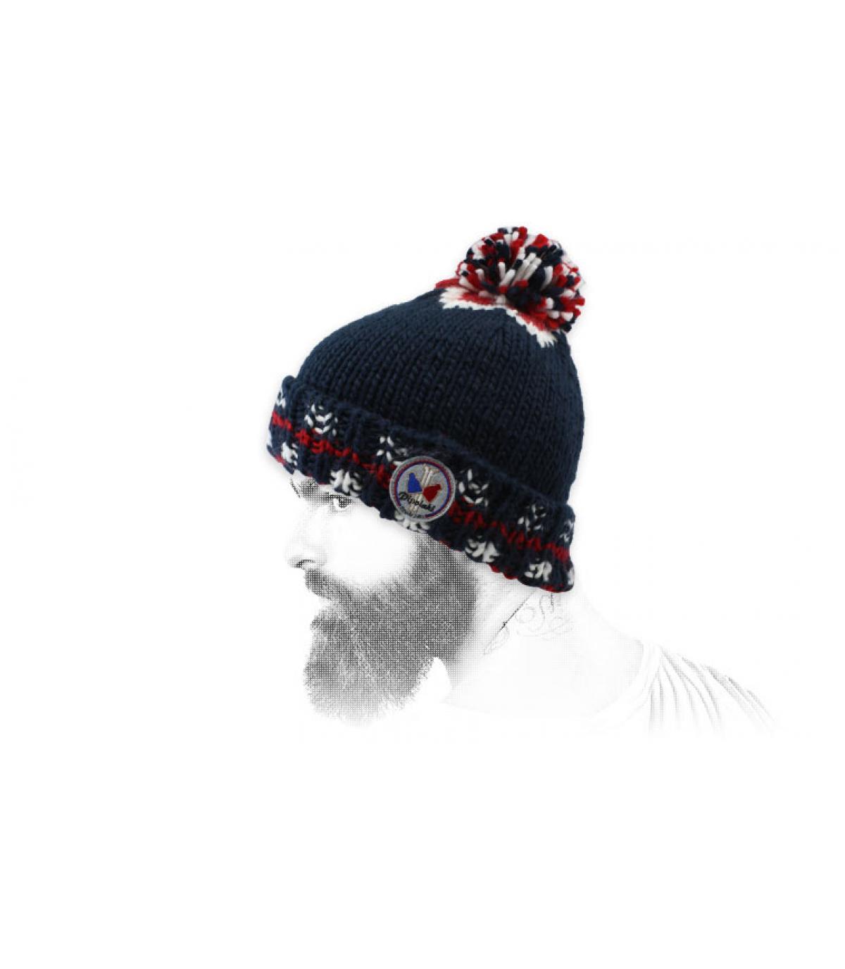 retro blauwe pompom hoed