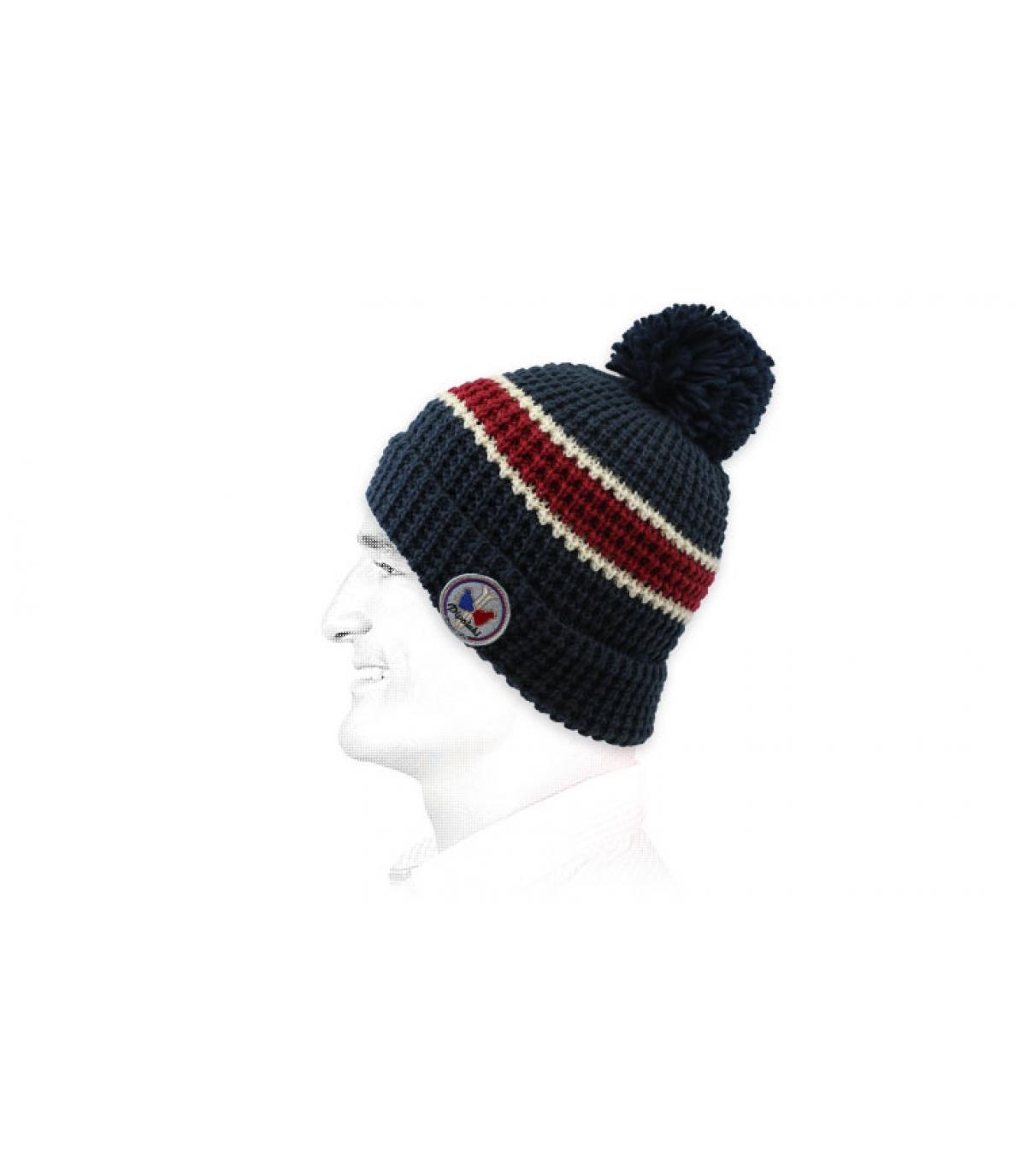 rode blauwe streep hoed