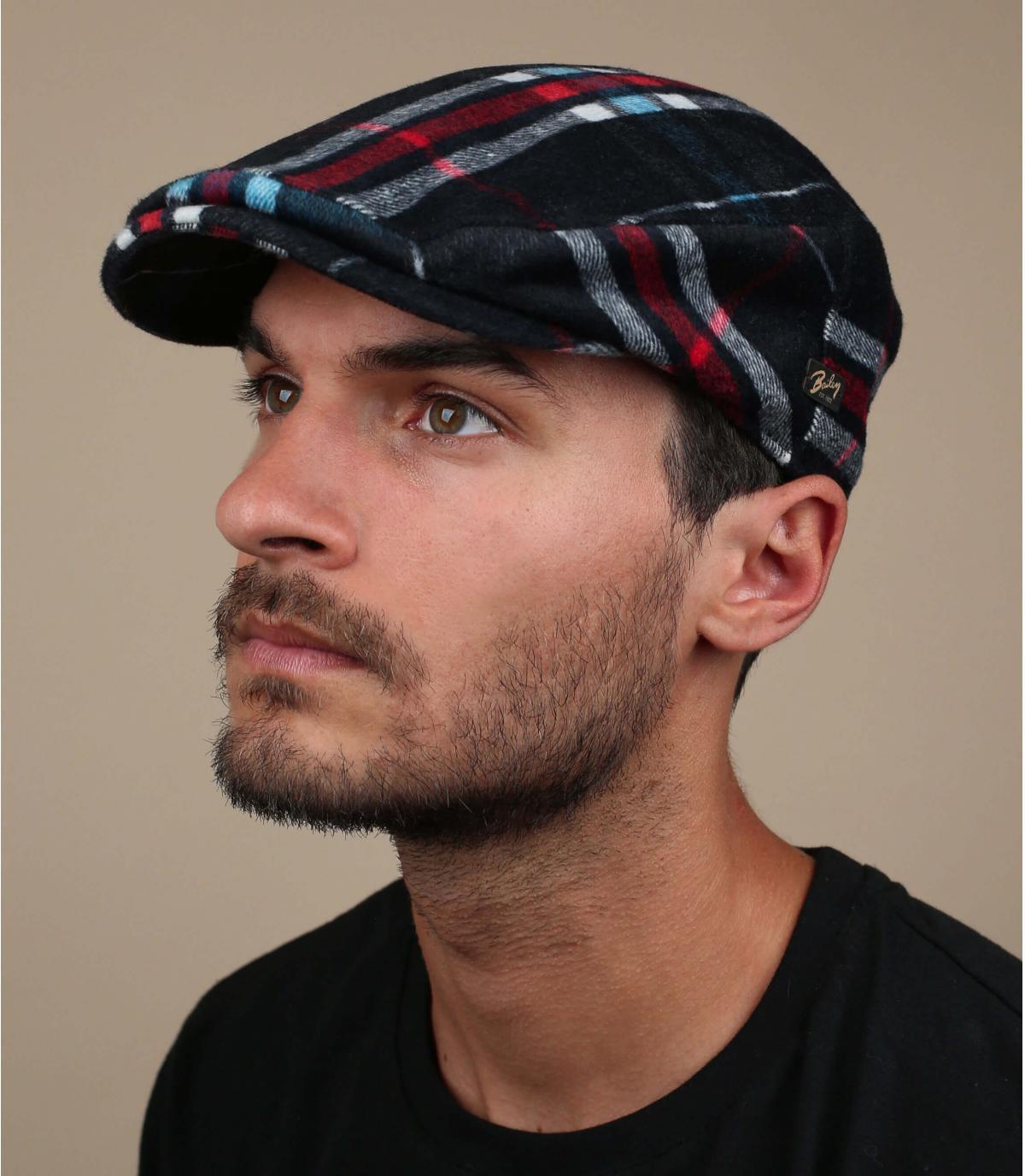 groene wol geruite baret