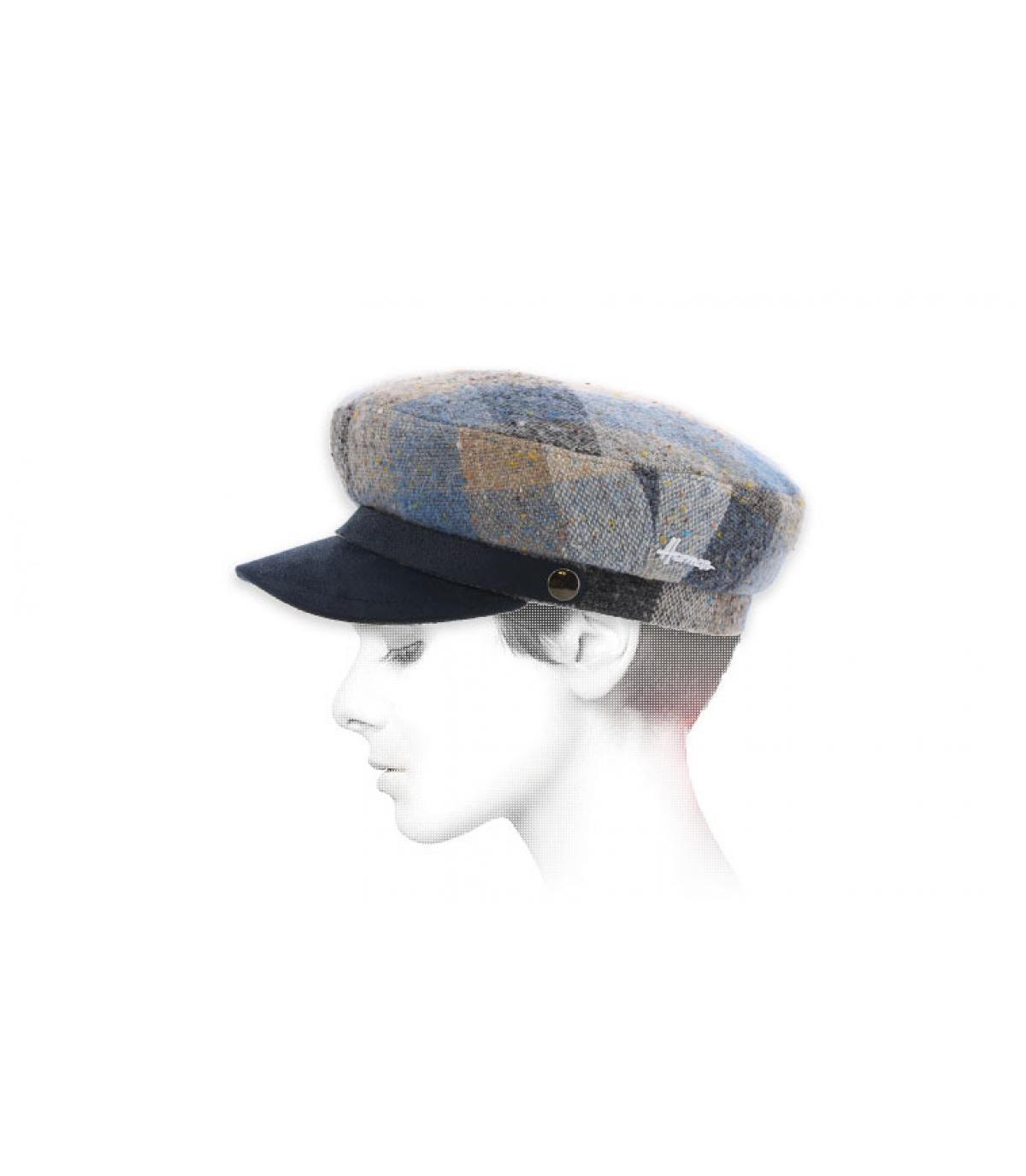 blauwe plaid marine cap