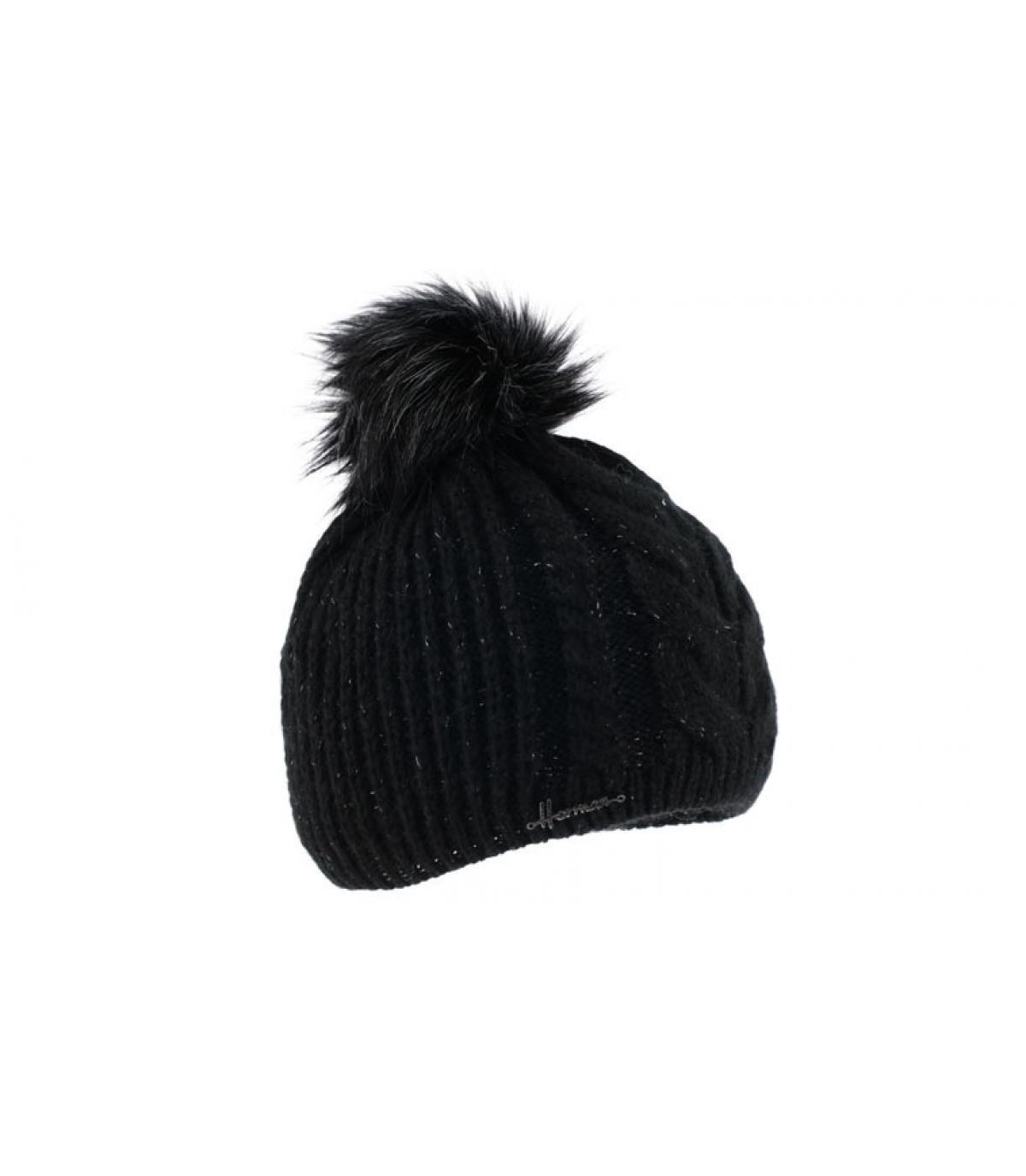 zwarte lurex pompom cap
