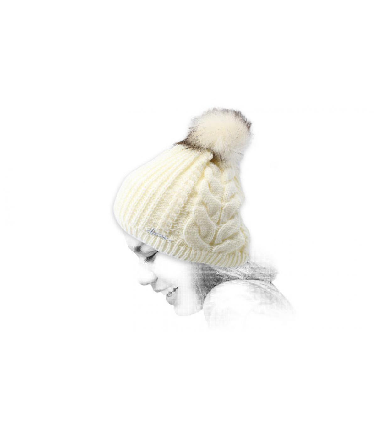 witte lurex pompon hoed
