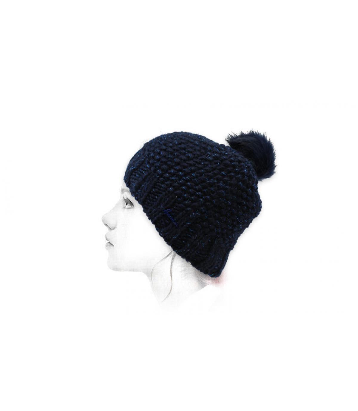 blauwe lurex pompon hoed