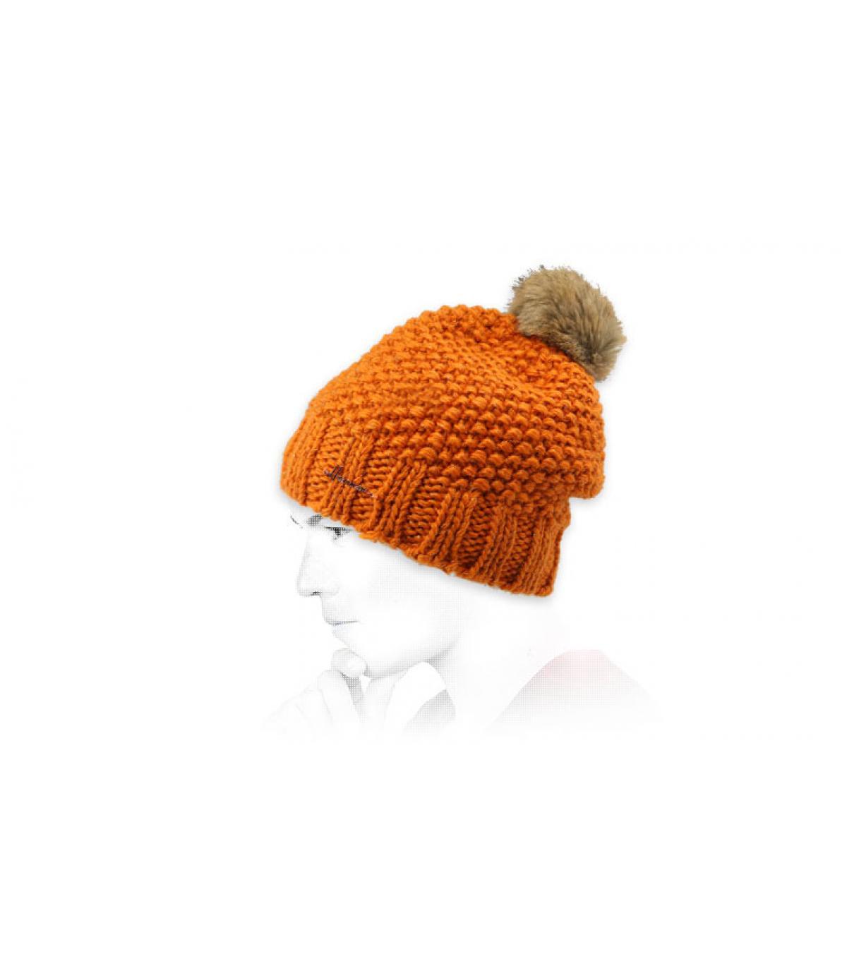 Oranje lurex pompon hoed
