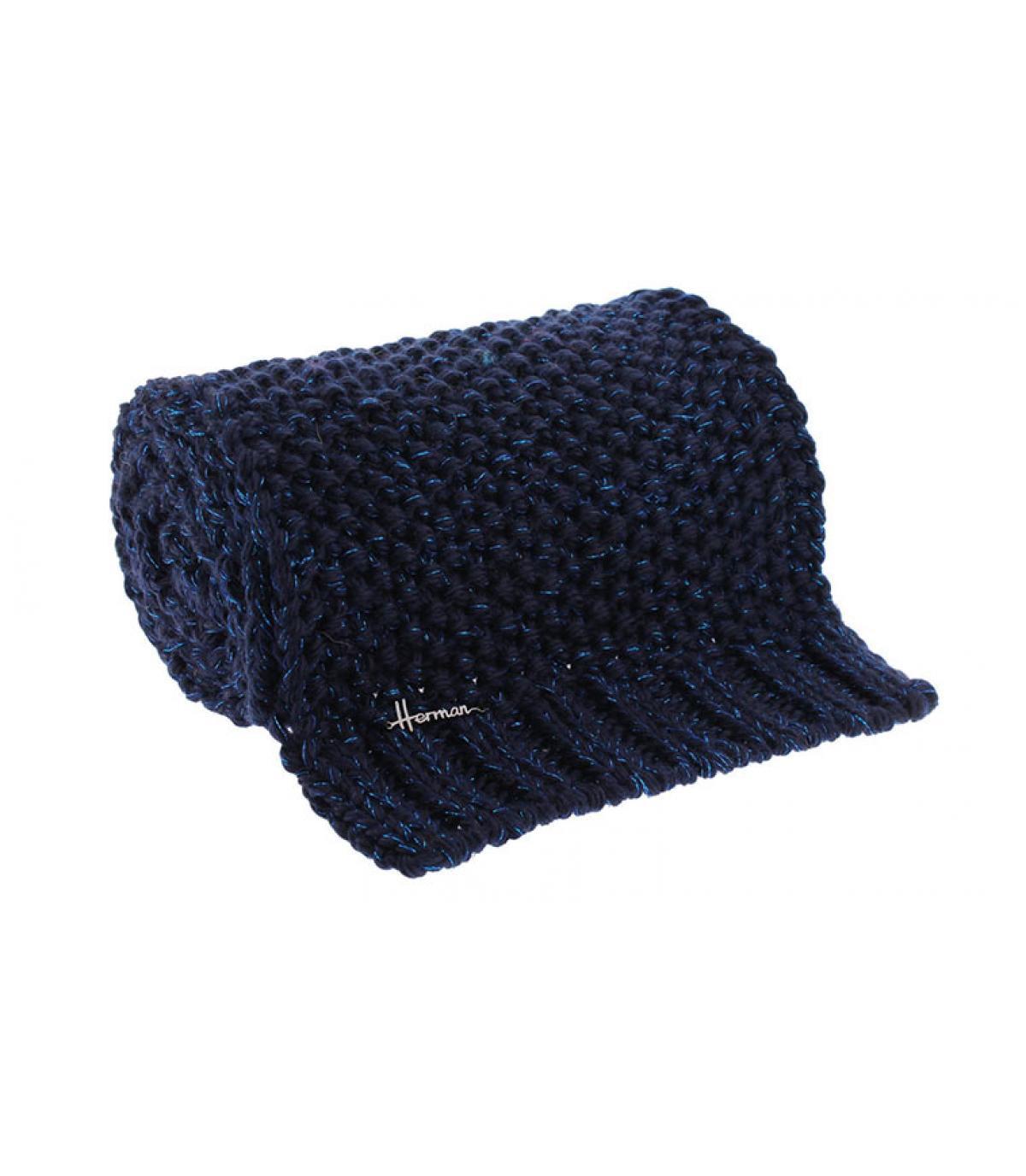 blauwe wol lurex sjaal