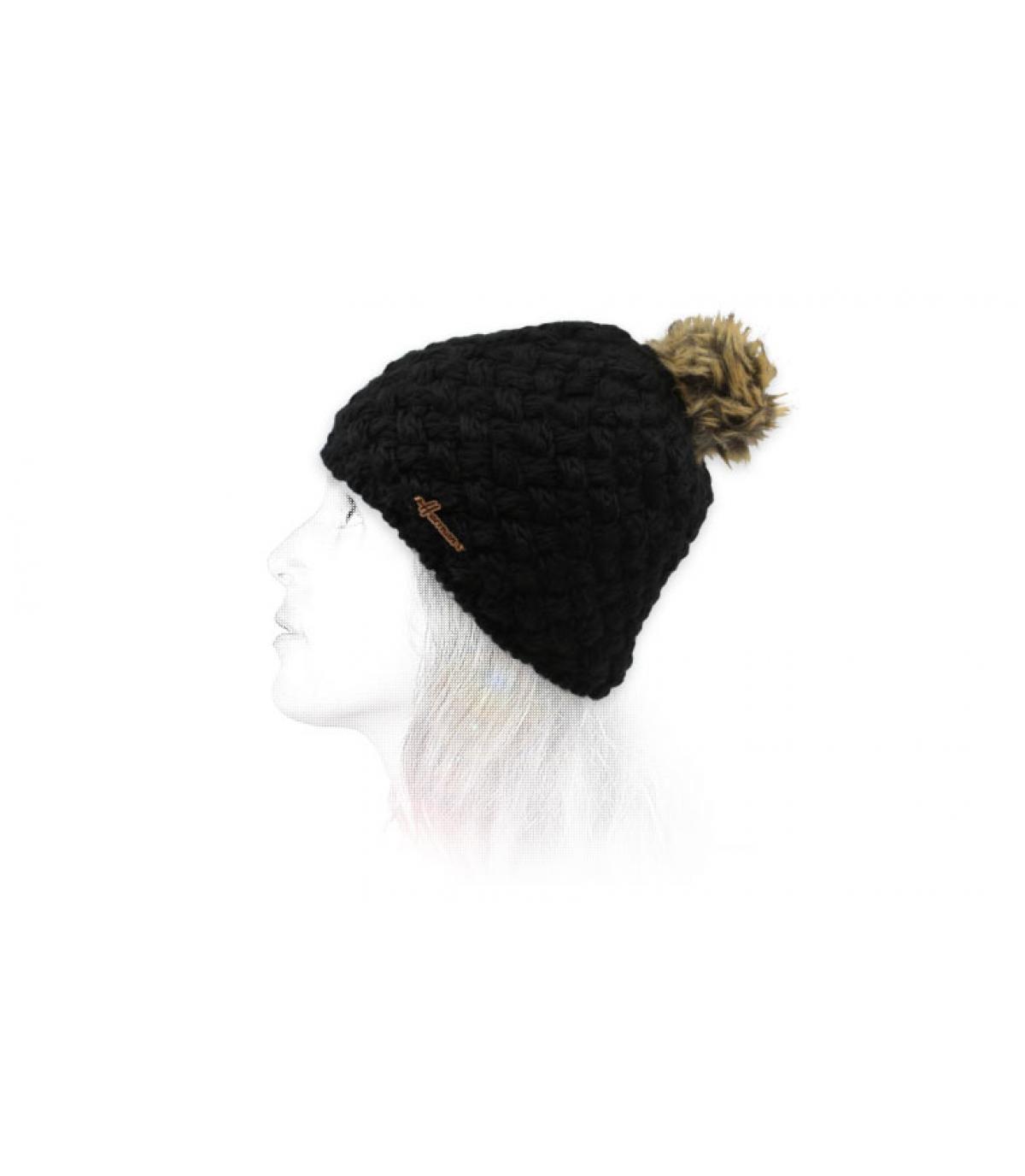 zwarte pompom wollen hoed