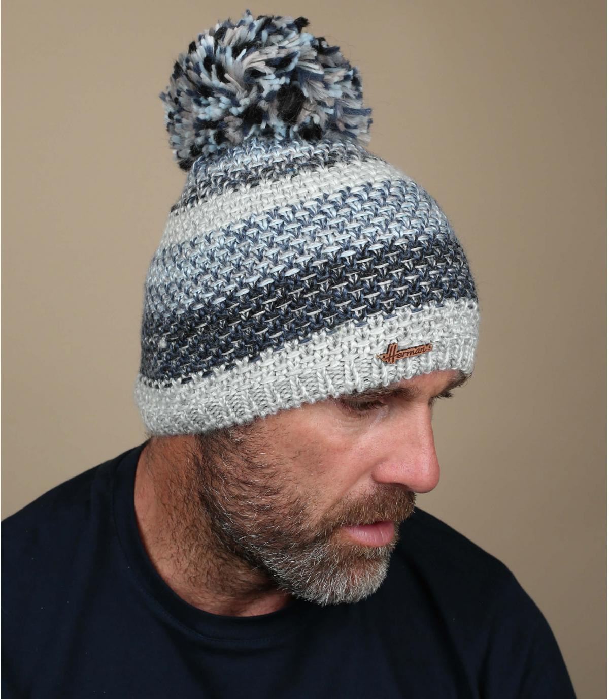 blauwe streep pompom hoed