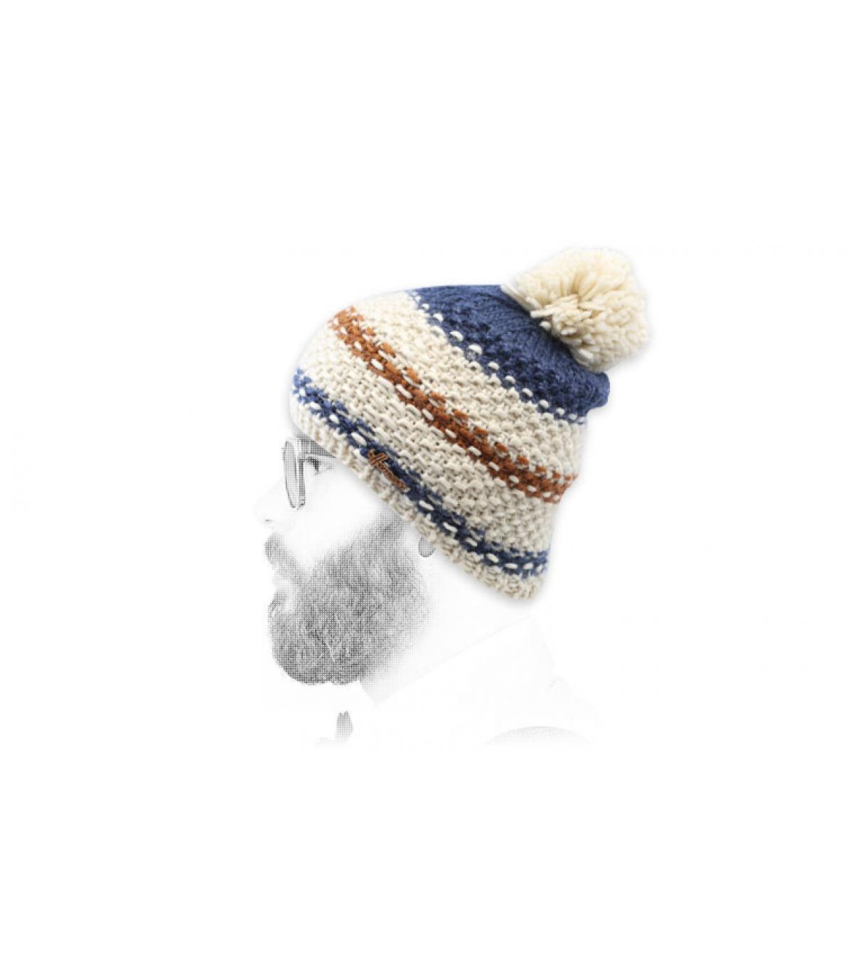 kwast hoed beige blauwe strepen