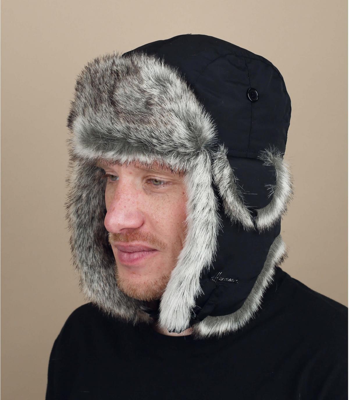 zwarte vacht hoed