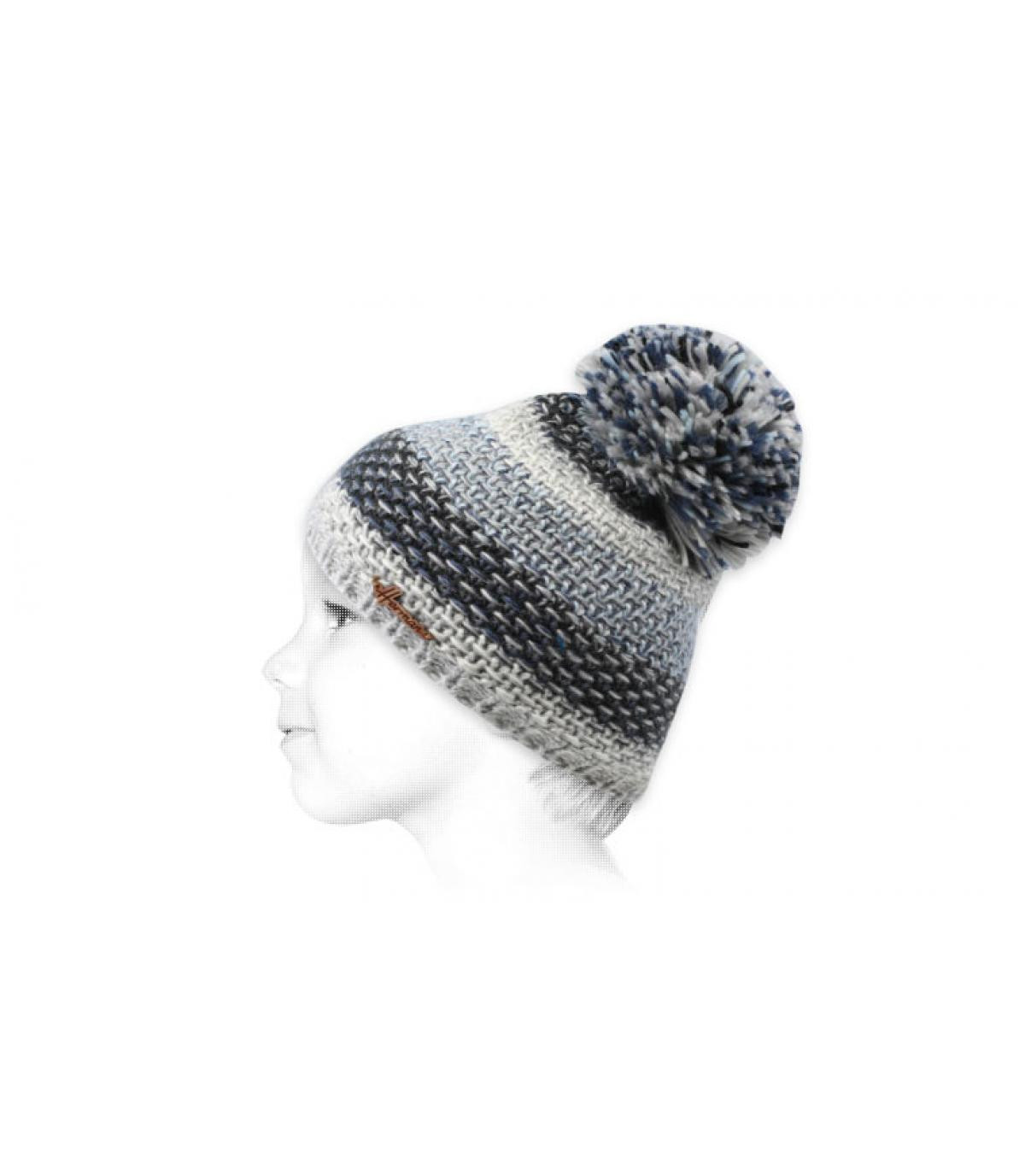 blauwe kinder pompom hoed