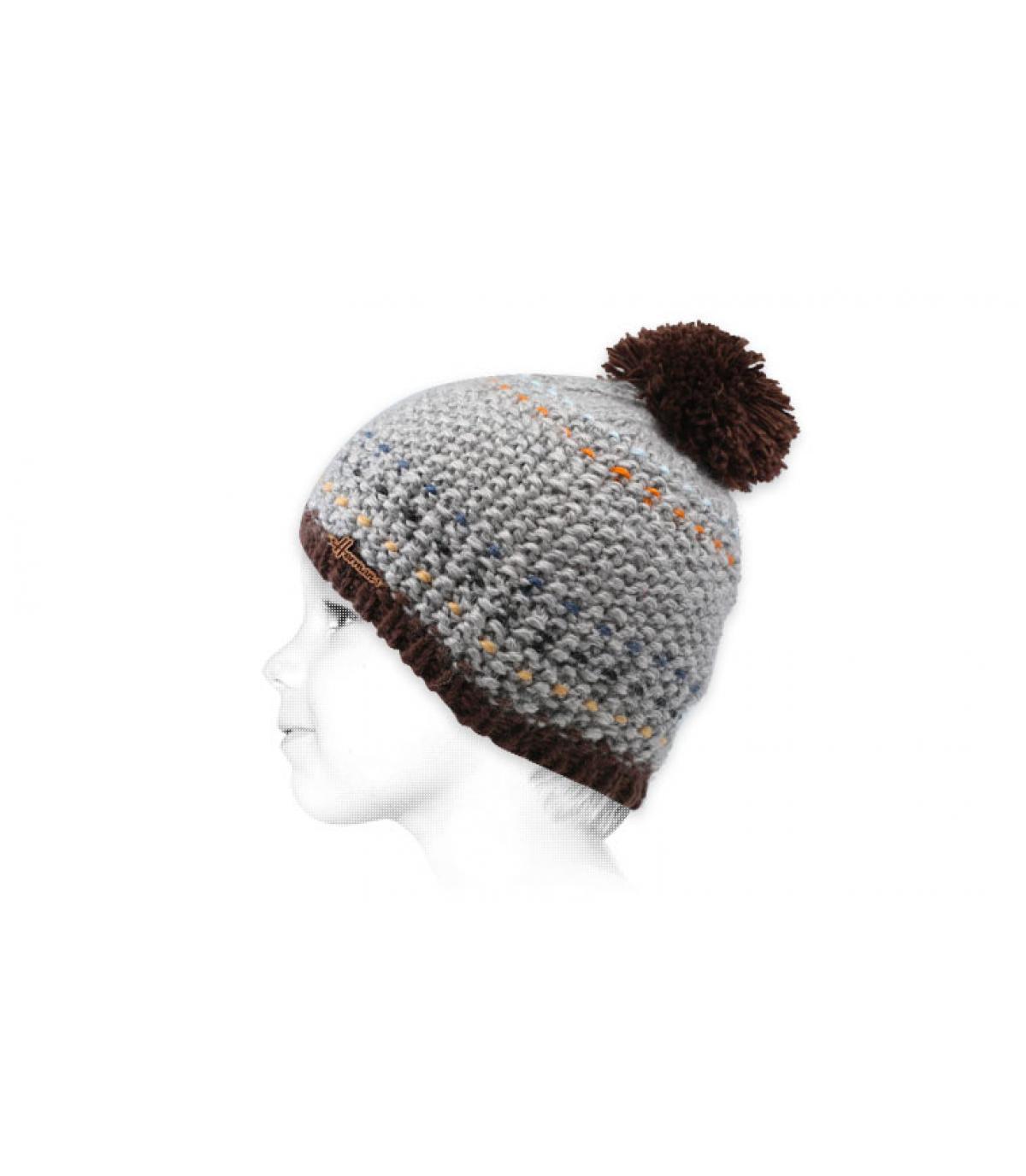 grijs kind hoed met kwastjes