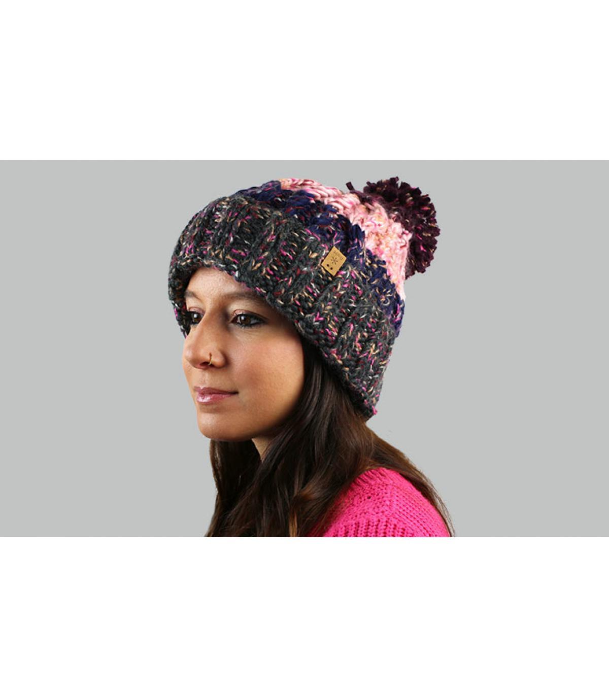 kwast hoed strepen roze grijs