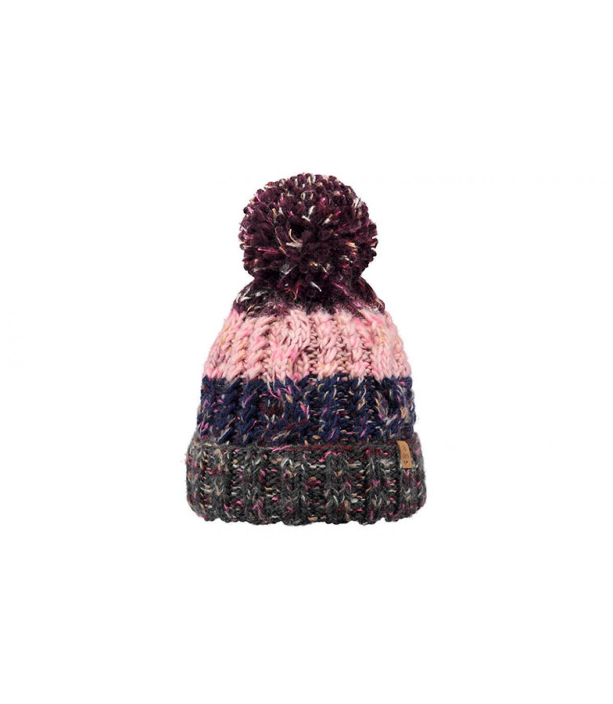 d63d5ab3 kwast hoed strepen roze grijs - Sandy Beanie dark heather van Barts ...