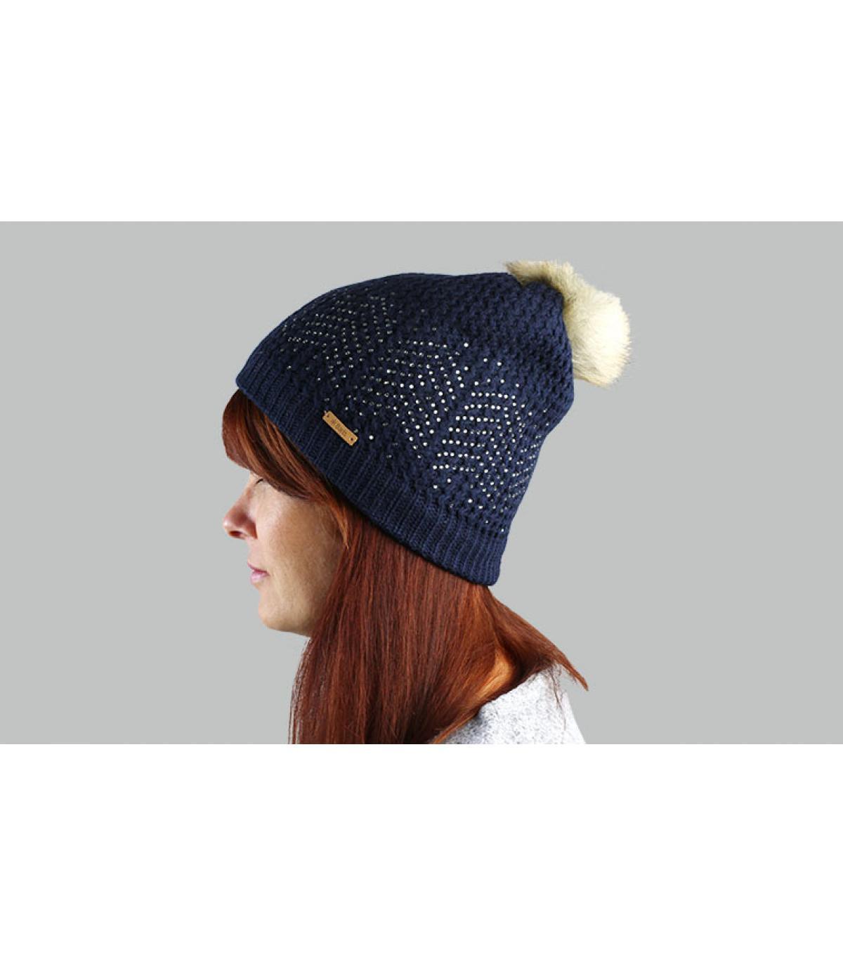 blauwe pels pompom hoed