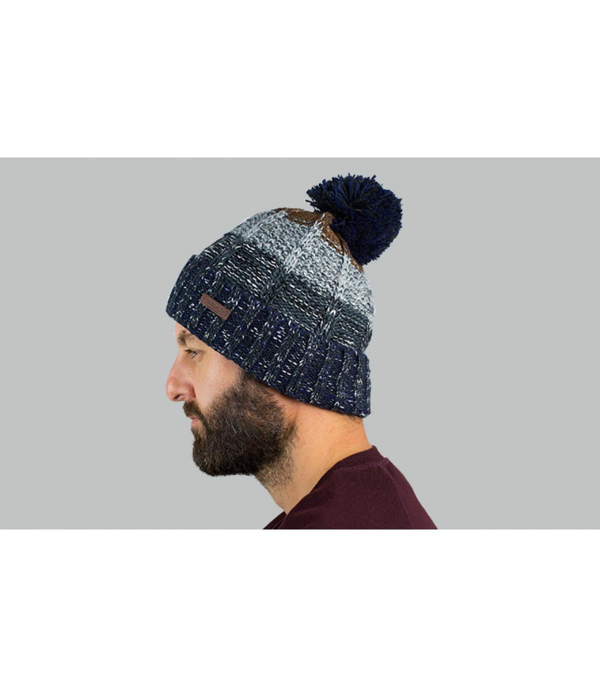 kwast hoed blauw grijze streep