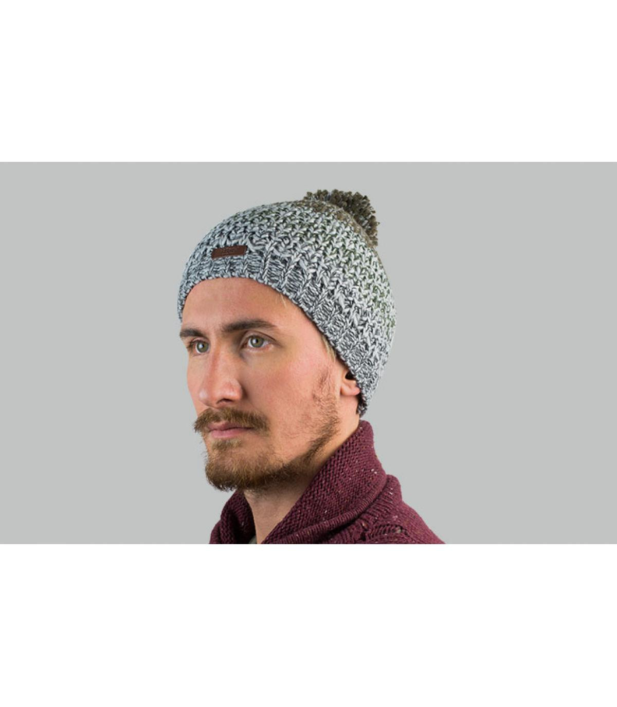 pompom grijs gestreepte hoed