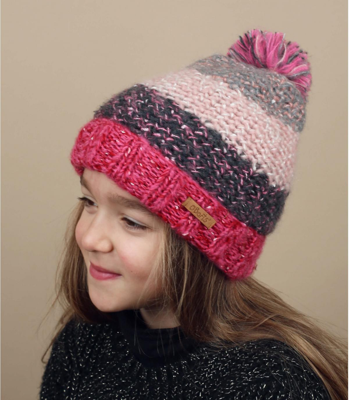 roze gestreepte kindermuts