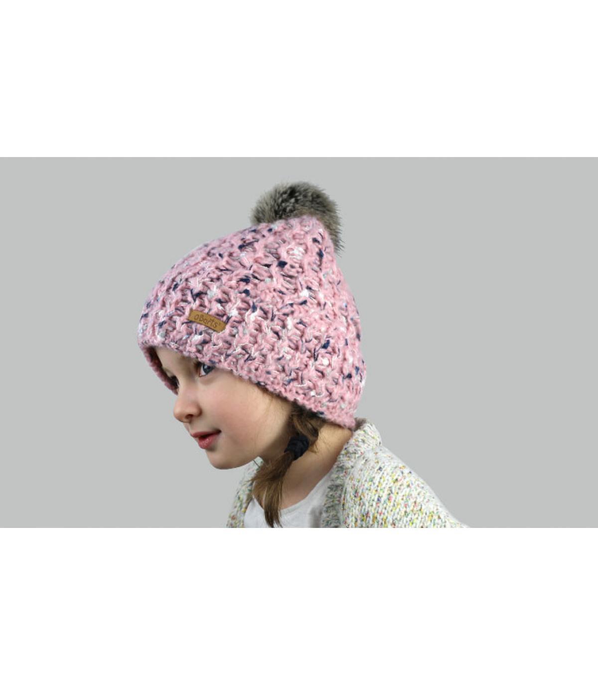 roze hoed kind pompom vacht
