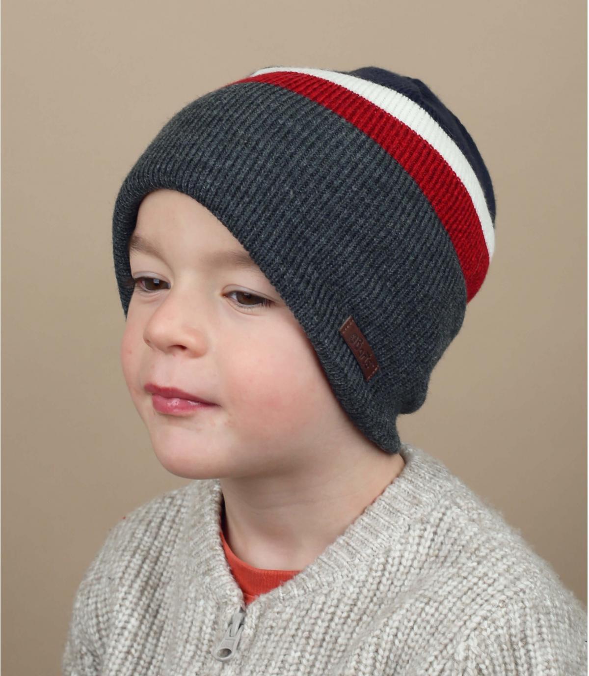 kindermuts blauw grijs rood