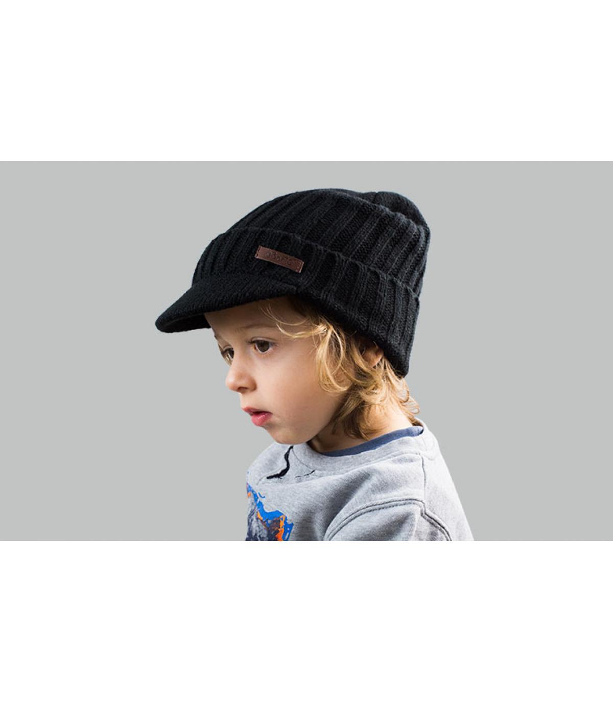 zwarte kindervizier hoed