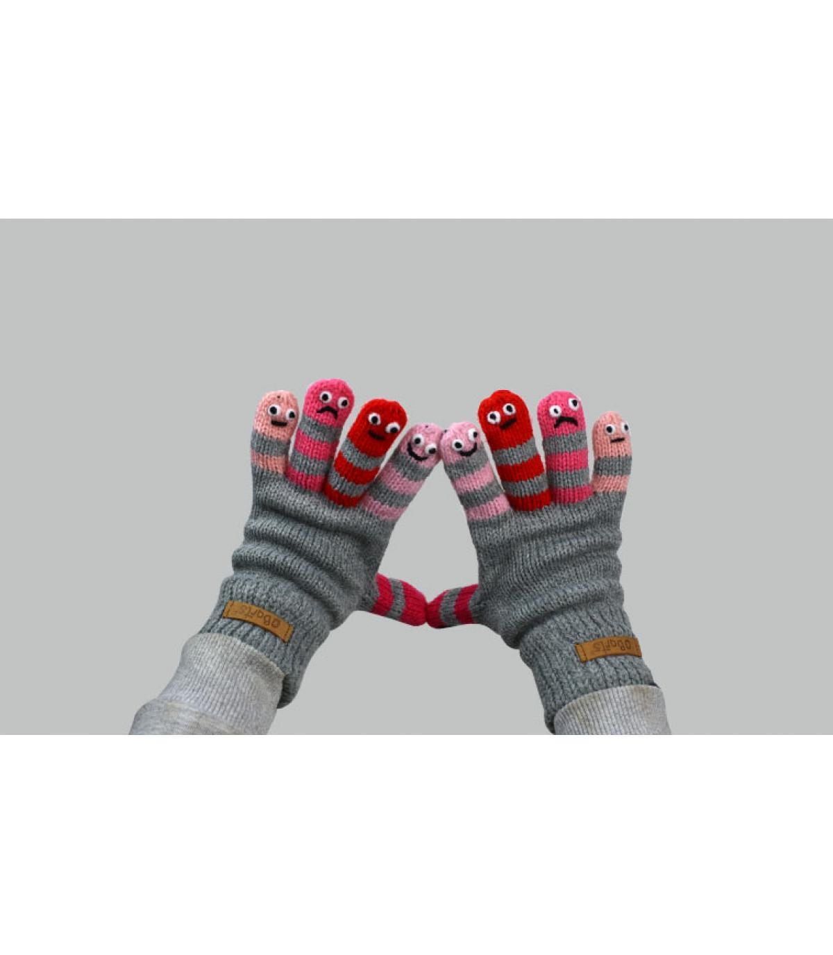 kind roze grijze handschoenen