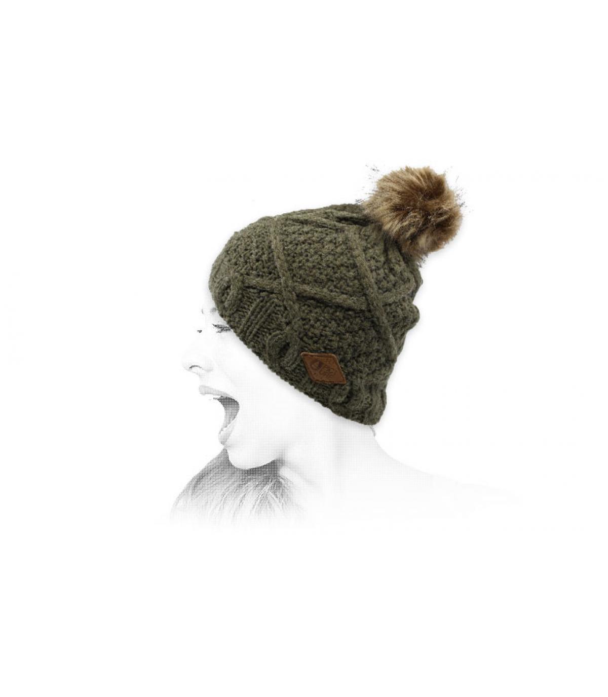 bonnet kaki pompon pels