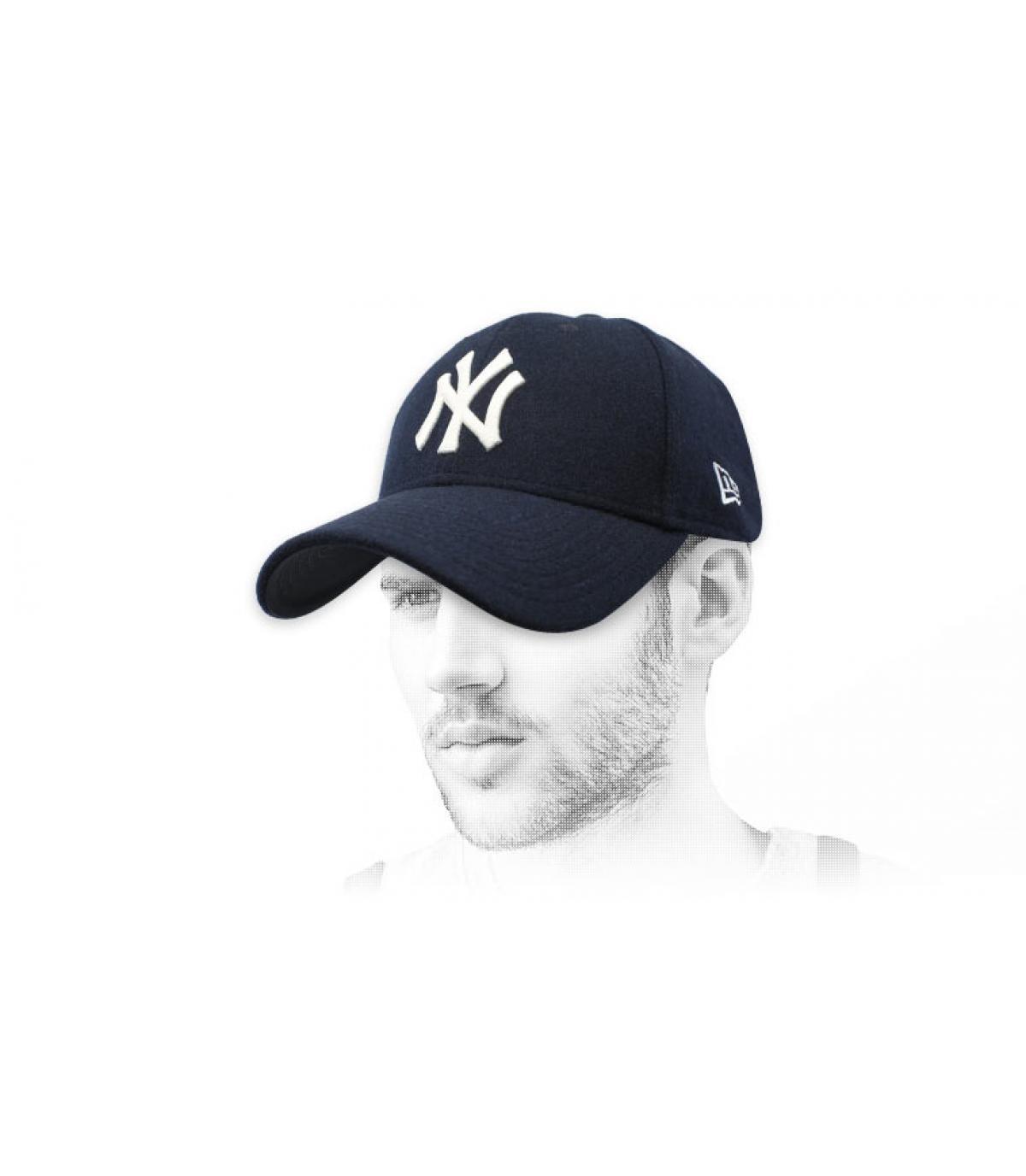 NY blauwe wollen muts