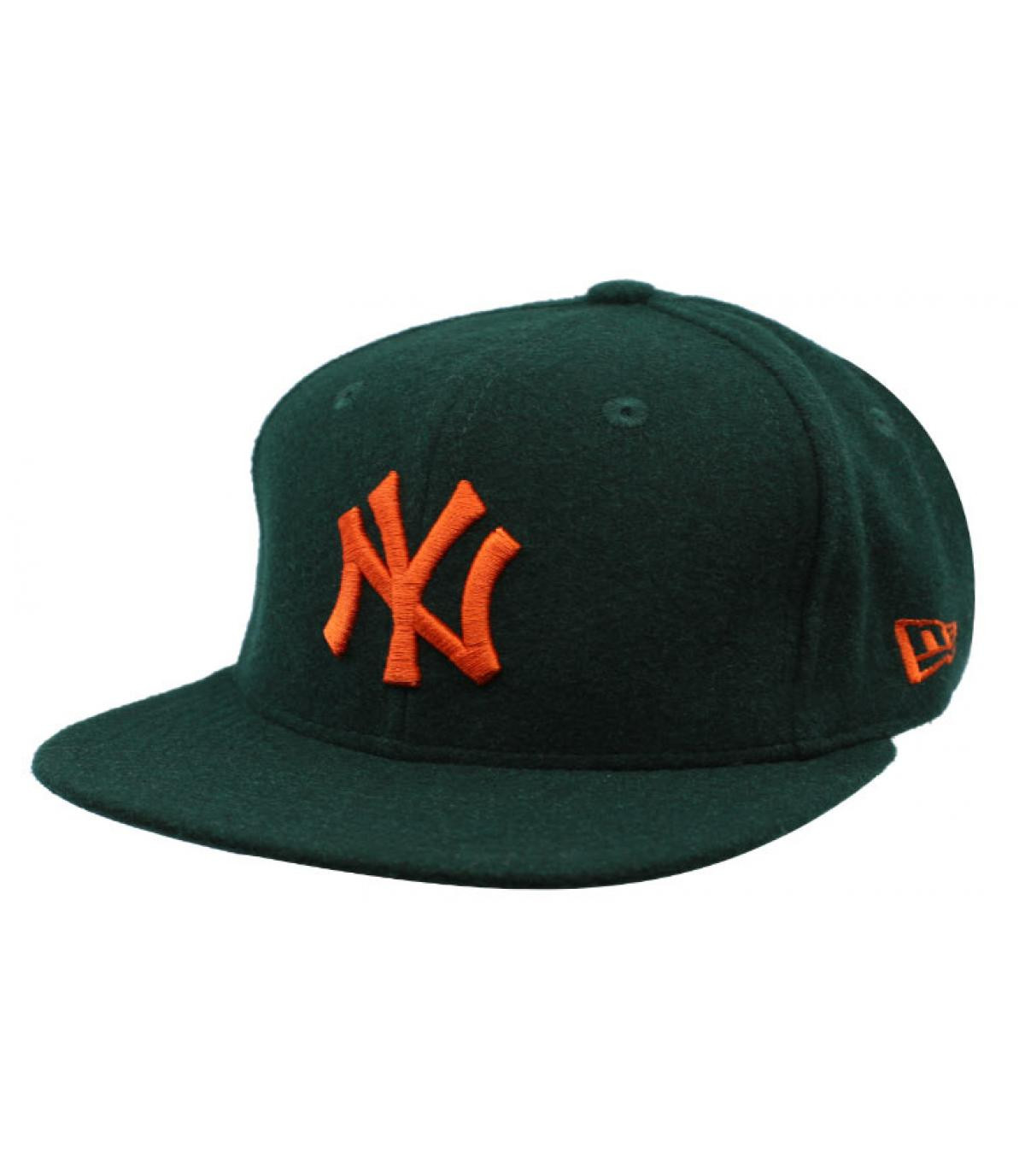 snapback NY groen oranje wol
