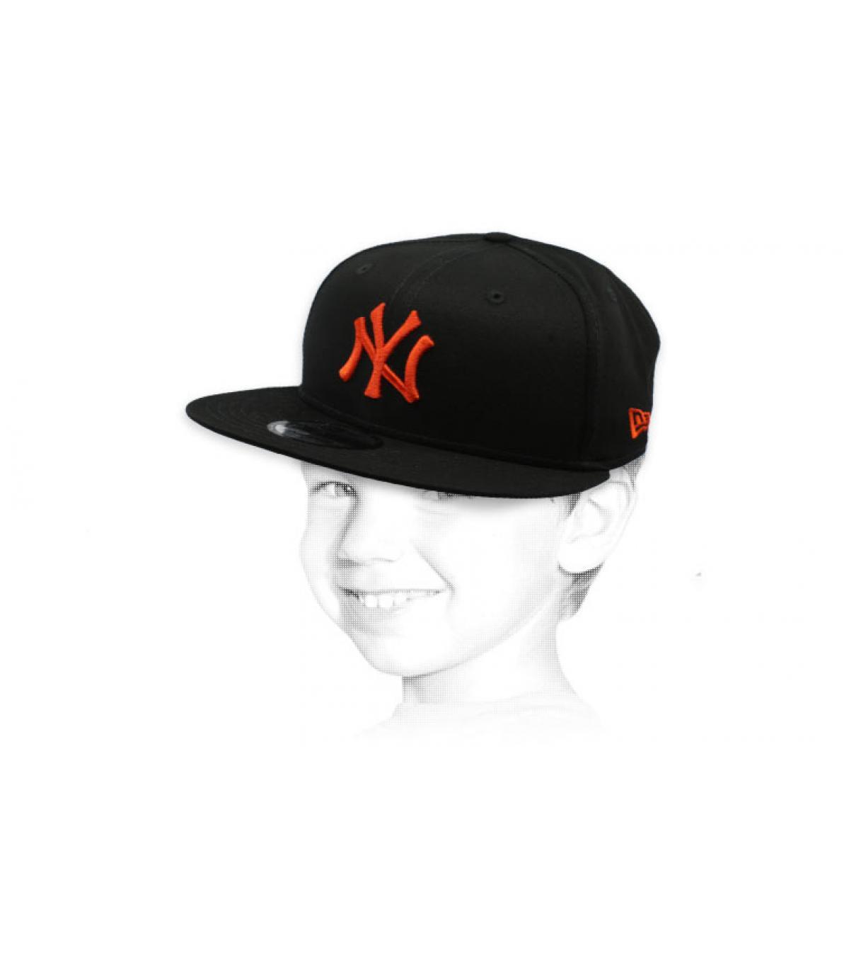kind snapback NY zwart oranje