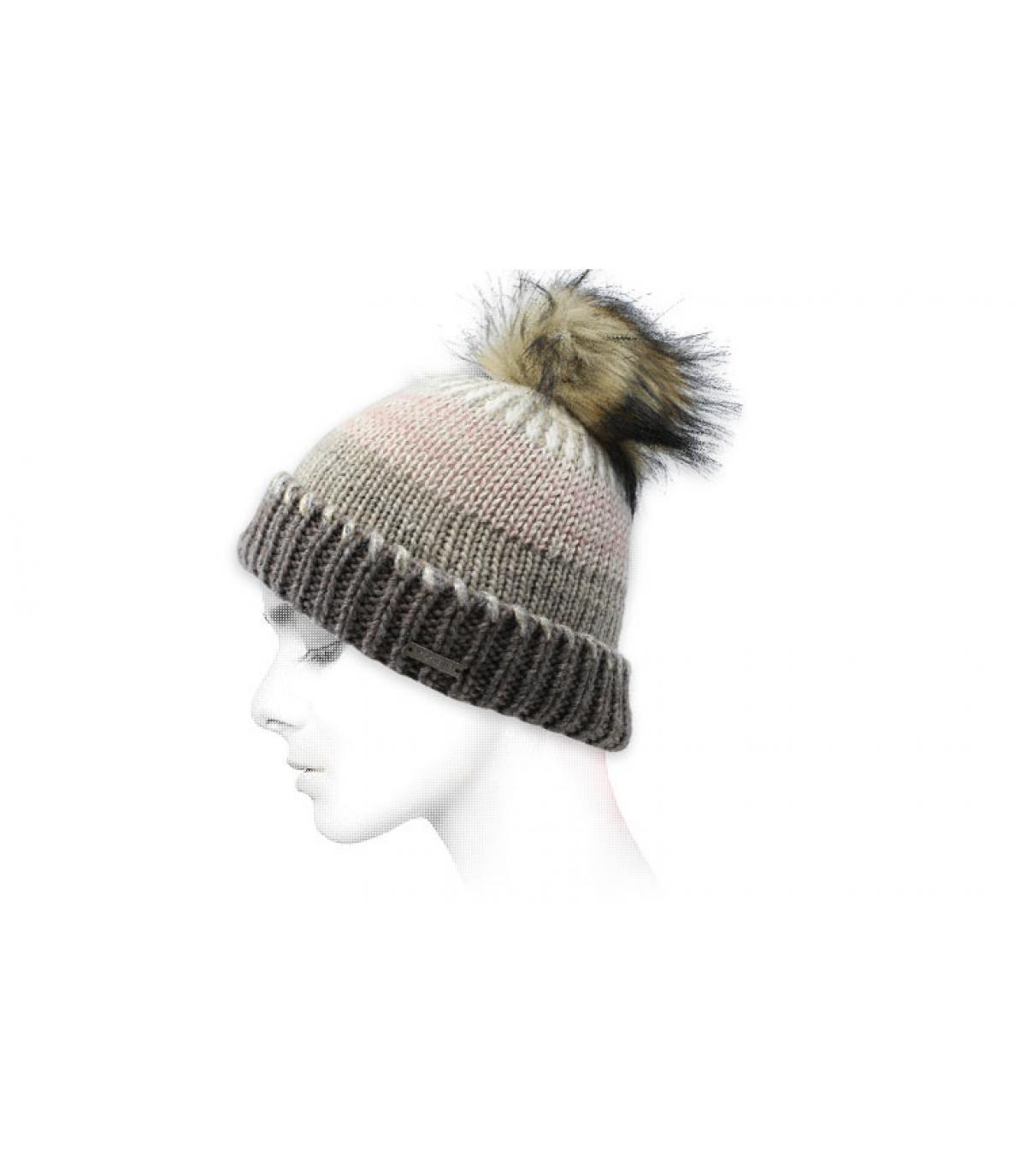 grijze beige gestreepte hoed
