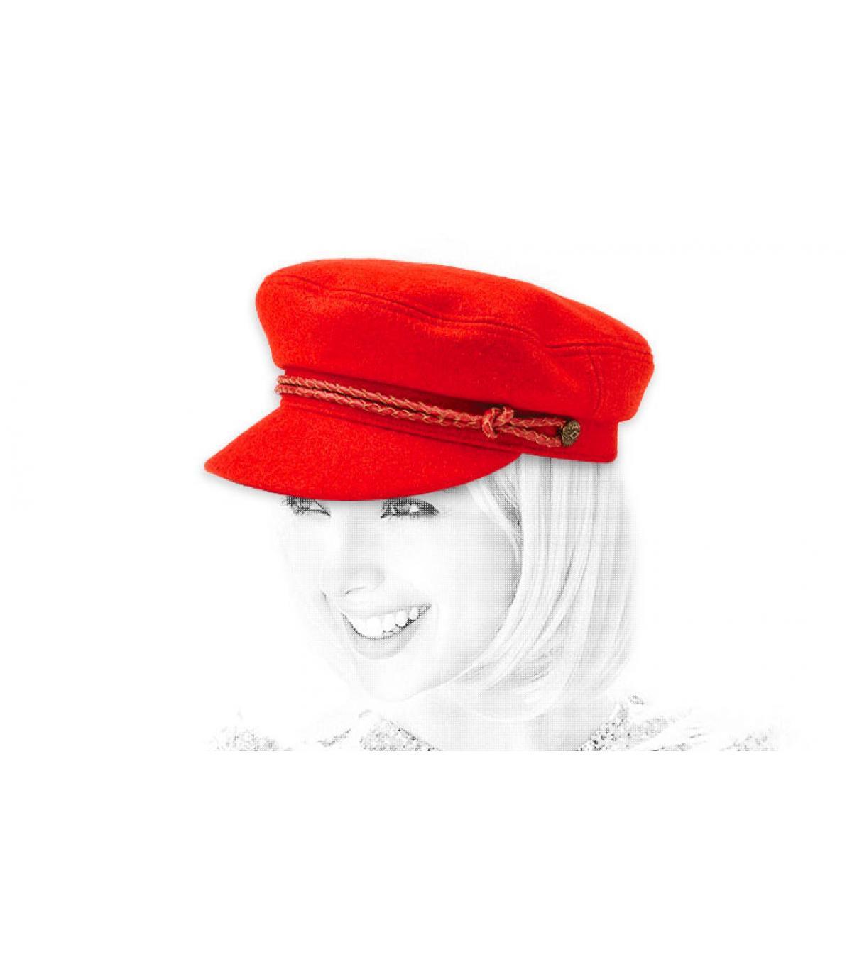 vrouw rode pet