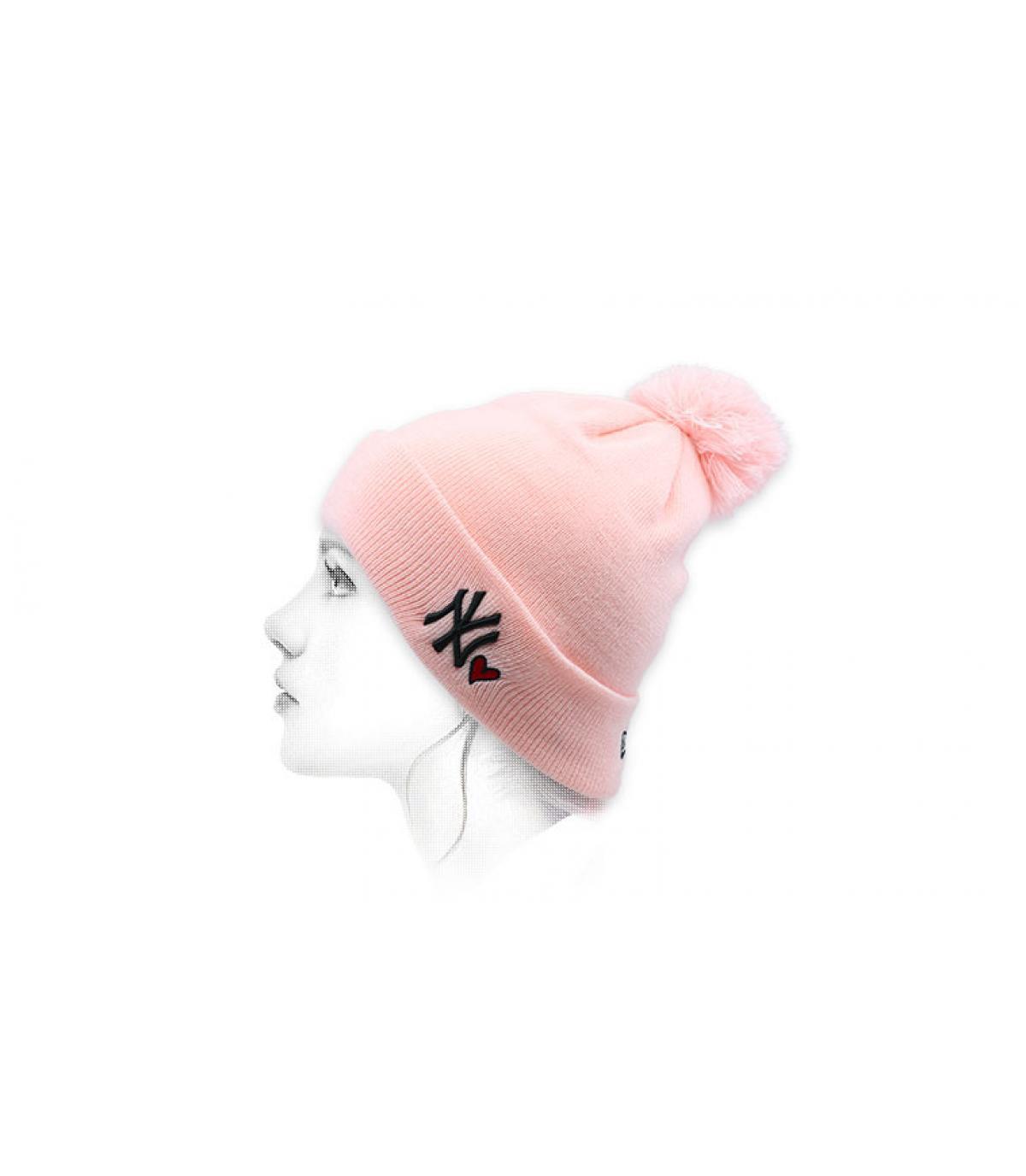 NY roze hart beanie