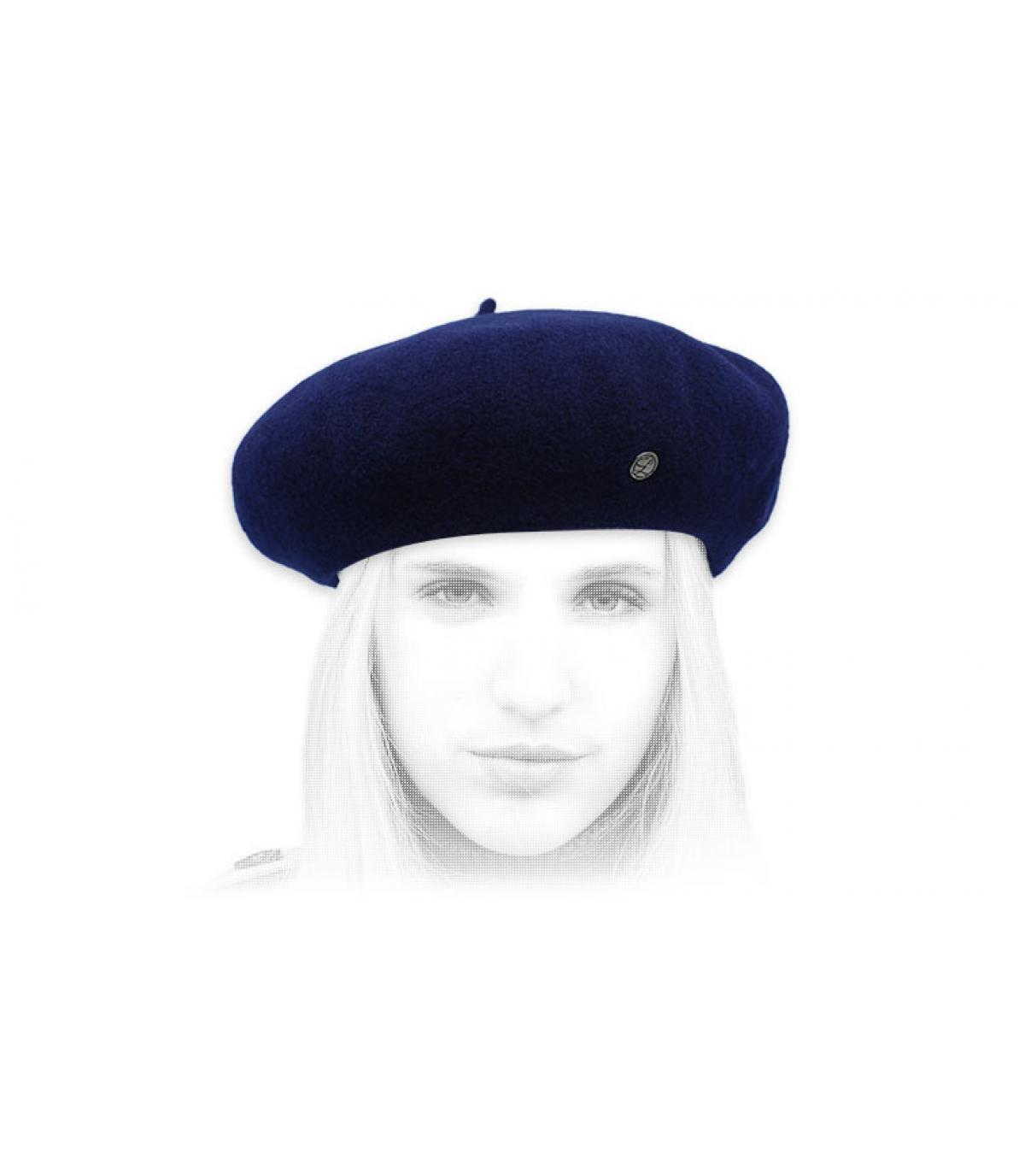 marineblauwe kasjmier baret