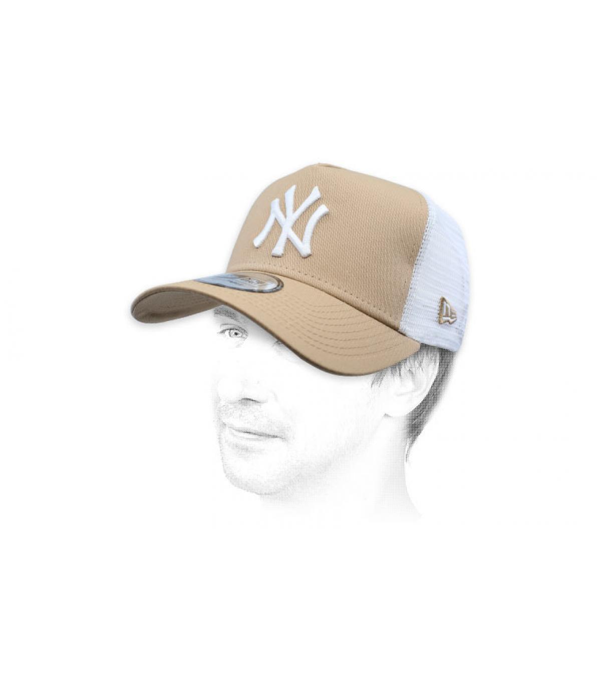 trucker NY beige wit