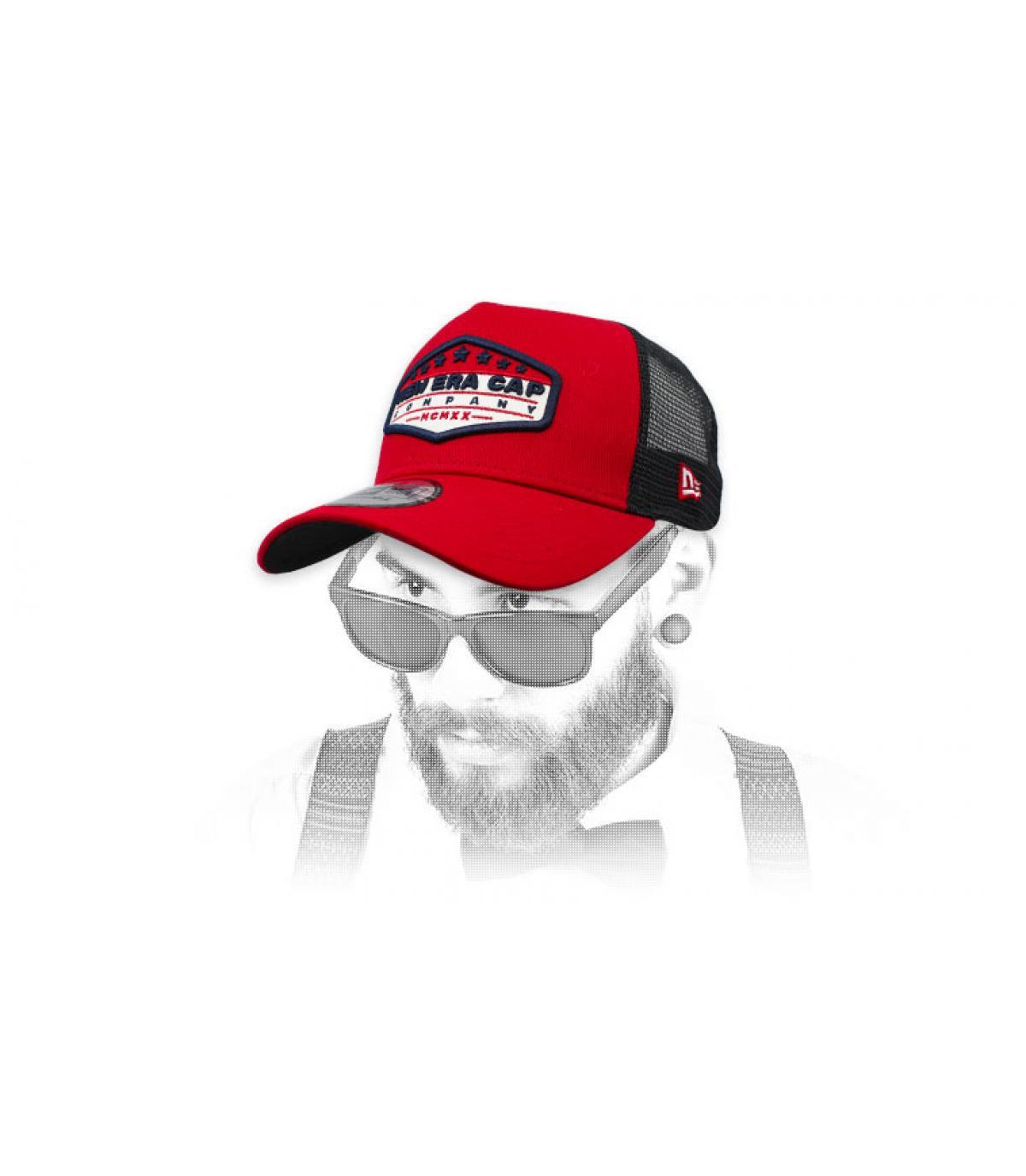 trucker New Era patch zwart rood