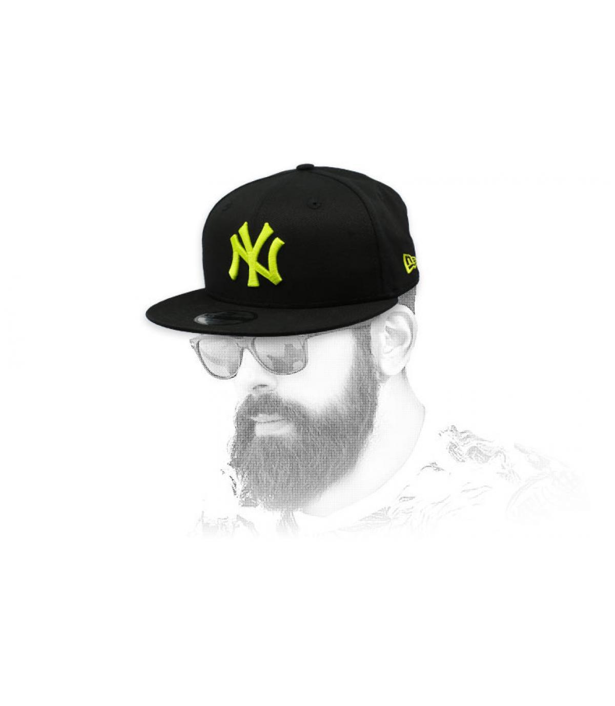 snapback NY zwart geel