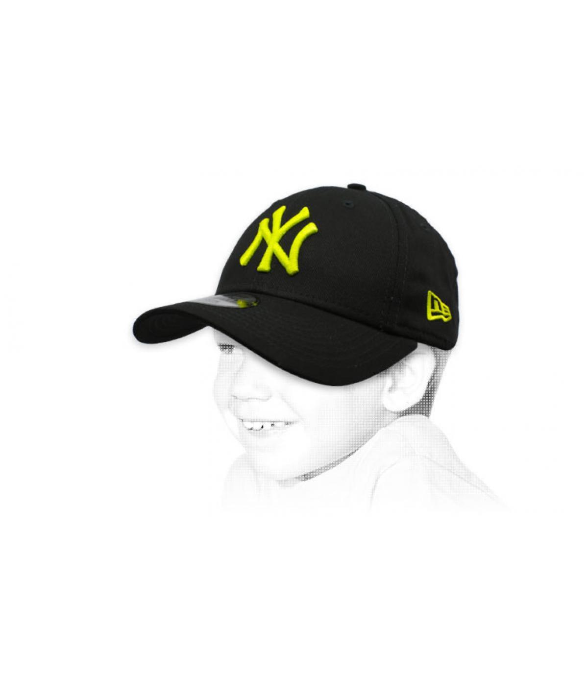 cap NY kind zwart geel
