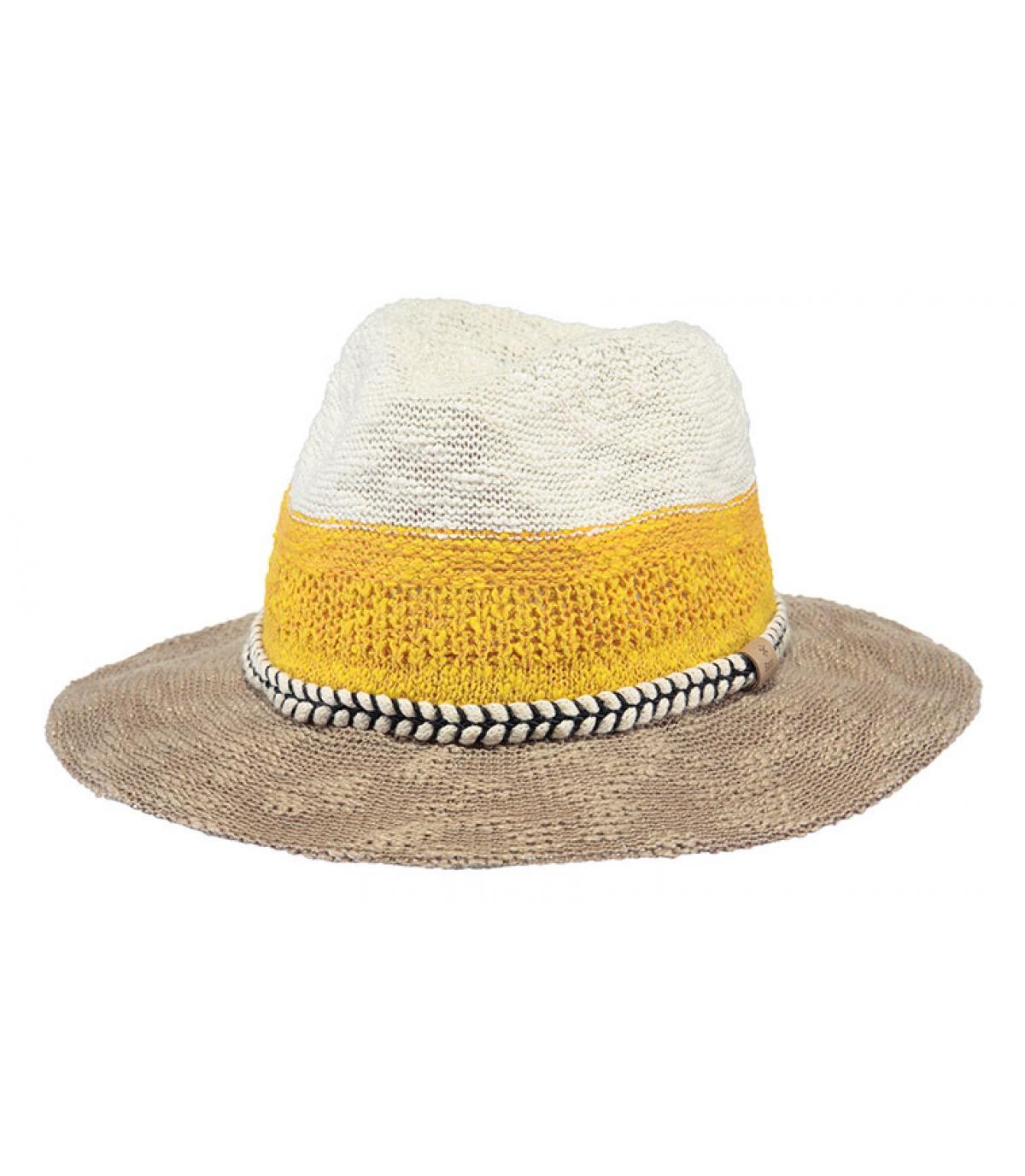 gele gestreepte hoed