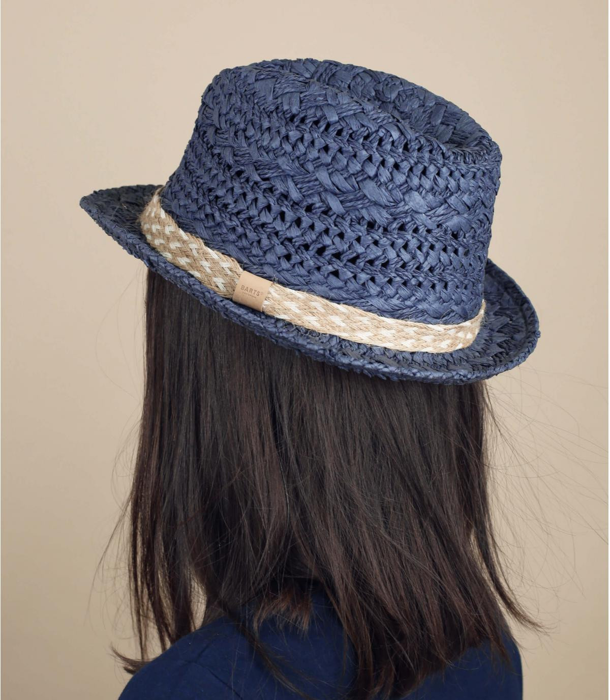 blauwe stro trilby hoed