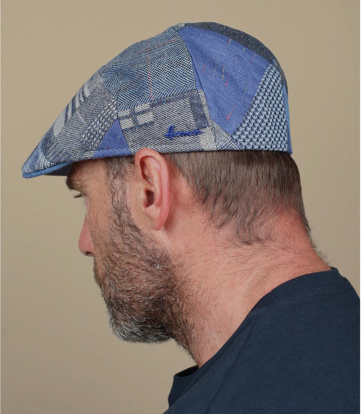 Blauwe patchwork baret
