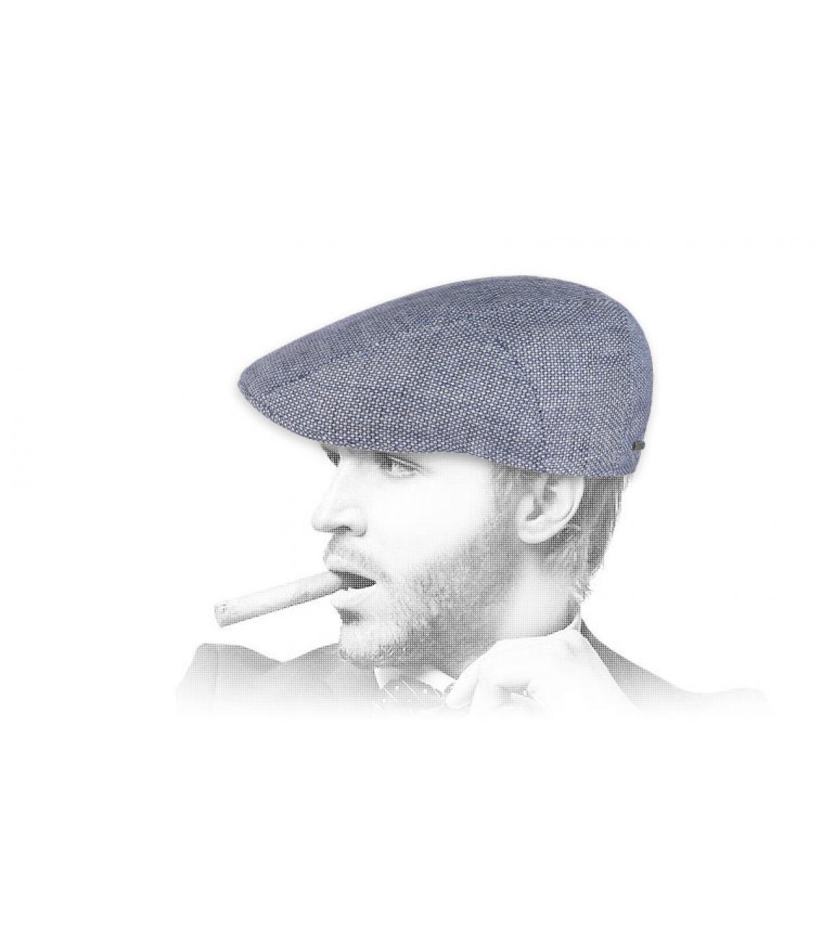 blauwe linnen baret Stetson