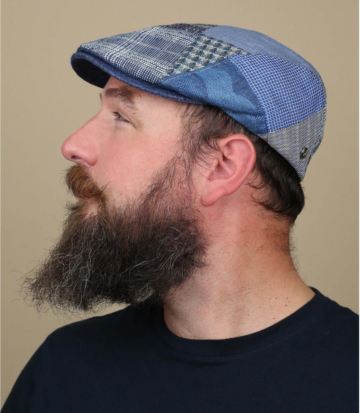 blauw linnen baret patchwork