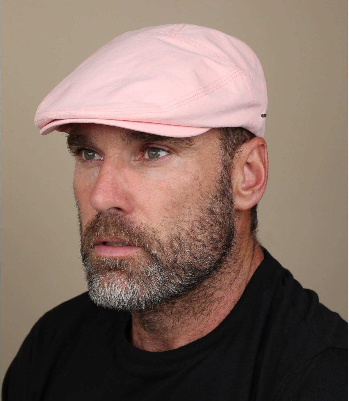 roze katoenen baret