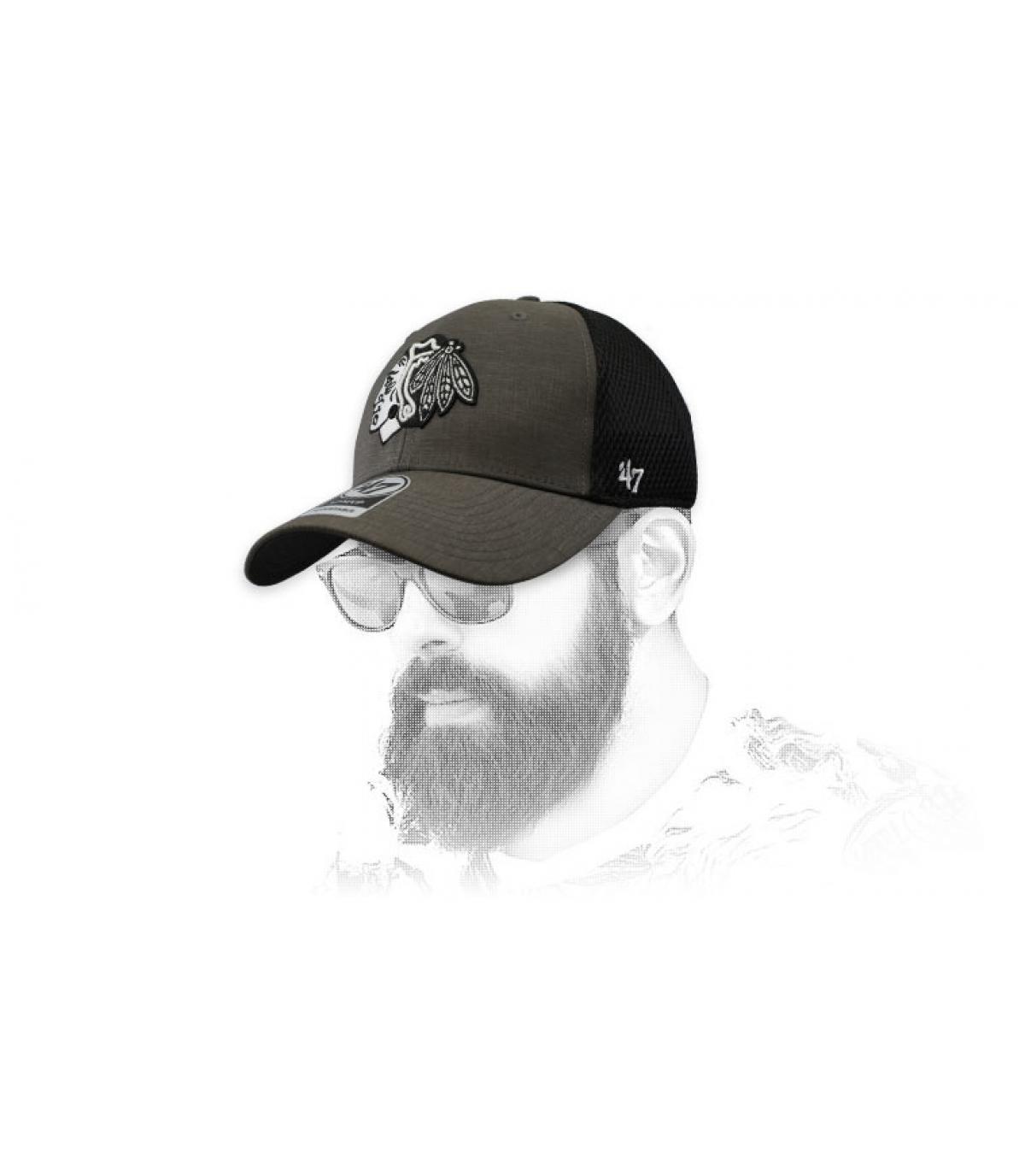 Blackhawks cap zwart grijs