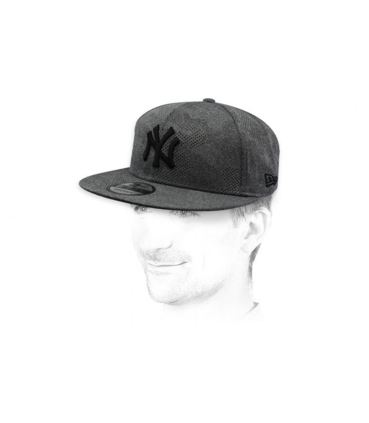 snapback NY grijs zwart
